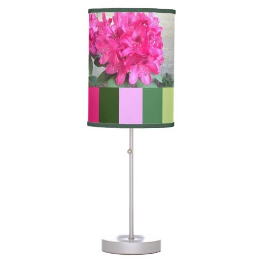 Hot Pink Rhododendron Lamp in a Box #stripes #pinkflowers $50.95