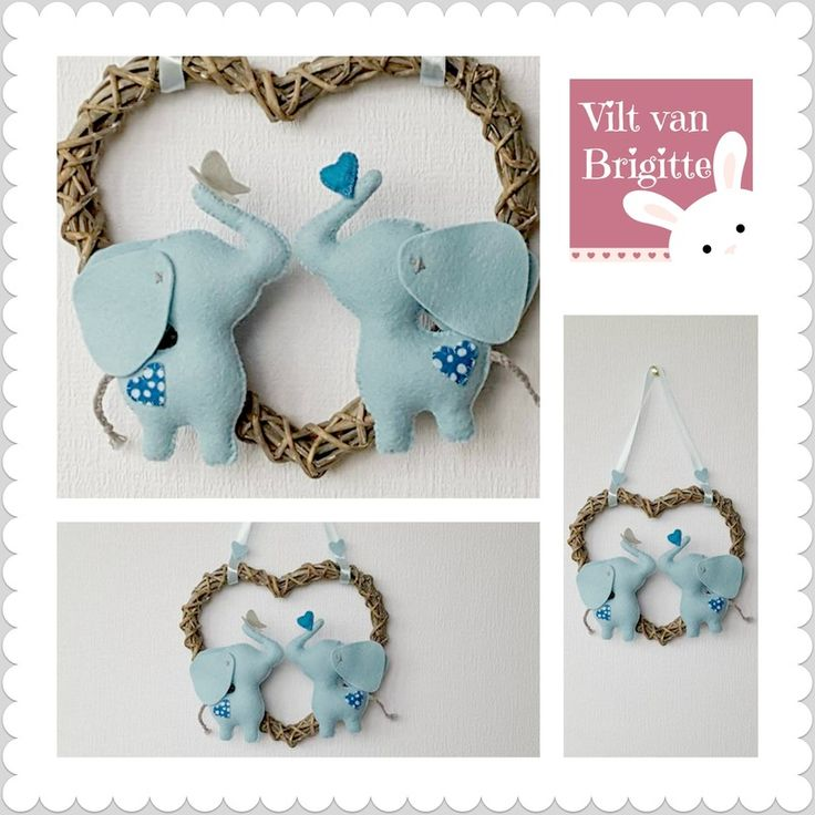 Are you pregnant and you expect two boys? Or are you looking for a baby gift for twins? This center has two blue elephants, an elephant plays with a butterfly and the approaching elephant is holding a heart. These elephants are made in the Netherlands and made by hand. #Babylove #Babyroom #Babydecor #twin #boys