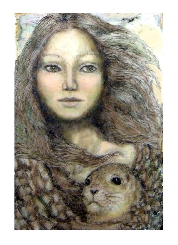 According to legends of the far reaches of Ireland and Scotland, a Selkie is able to discard her seal skin and come ashore as a beautiful maiden. If a human can capture her seal skin, the selkie can be forced to become a fine, if wistful, wife. However, should she ever find her skin she immediately returns to the sea, leaving the husband to pine and die. This is a fine art giclee reproduction of a hand colored engraving by Rachel Badeau.