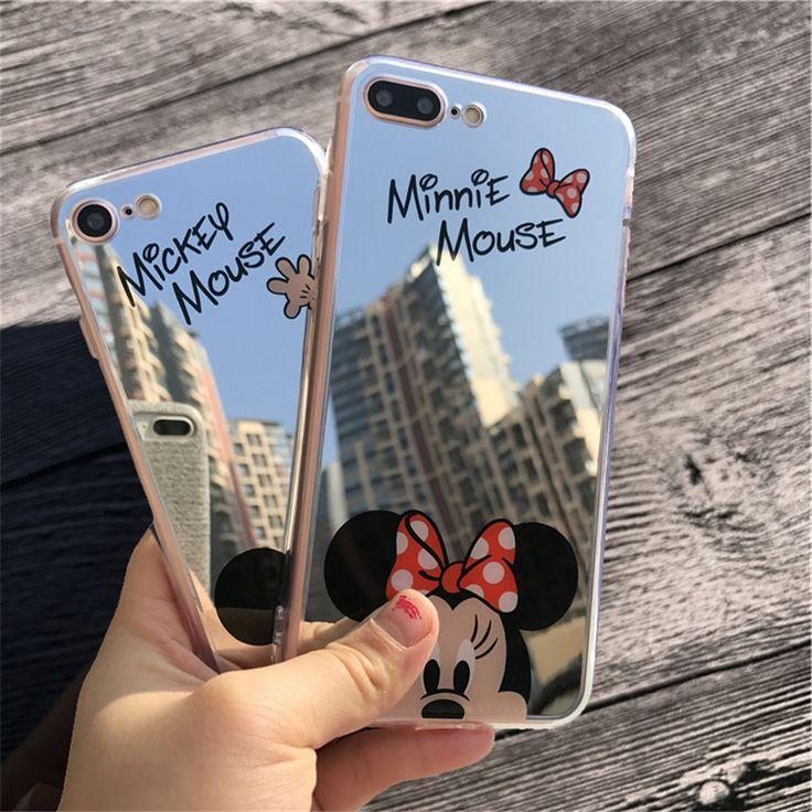 Mirror Cartoon Mickey Minnie Cases For iPhone 7 6S 5S Case Plating Soft Gel Phone Cases For iPhone 5 6 7 Plus Coque Capa Fundas