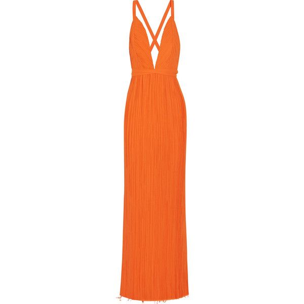 Haider Ackermann Haider Ackermann - Plissé-georgette Wrap Gown -... (8.642.445 COP) ❤ liked on Polyvore featuring dresses, gowns, orange dress, pleated gown, orange evening dresses, orange gown and georgette dress