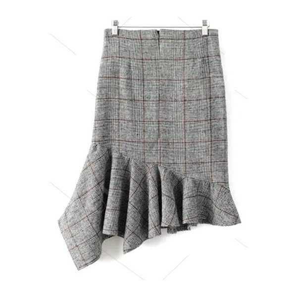 Plaid Tweed Mermaid Skirt ($31) ❤ liked on Polyvore featuring skirts, zaful, tartan plaid skirt, tweed skirt, plaid skirt, mermaid skirts and tartan skirt