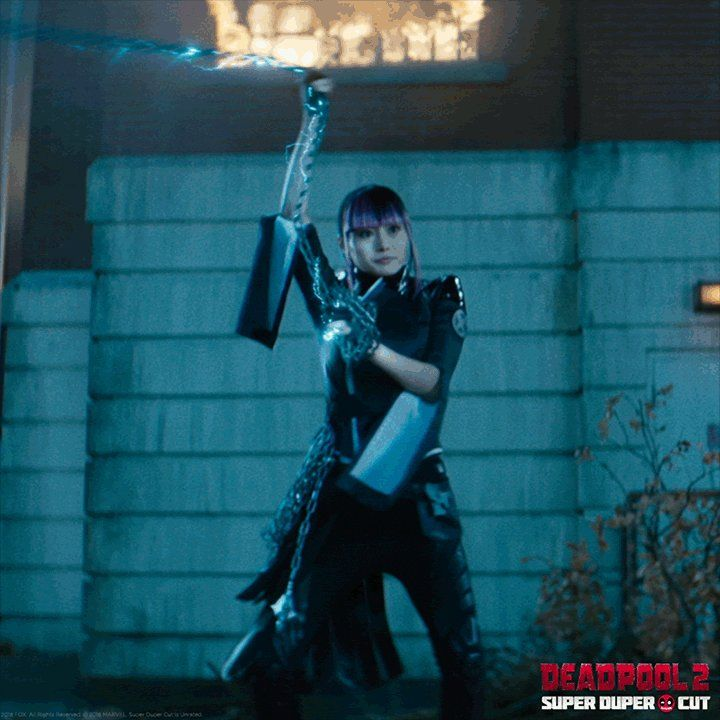 Click Through For The Gif Deadpool Movie On Twitter Hi Yukio Deadpool Cosplay Deadpool Movie Deadpool