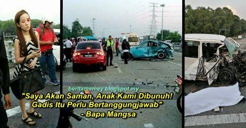 """""""Saya Akan Saman Anak Kami Dibunuh! Gadis Itu Perlu Bertanggungjawab"""" - Bapa Mangsa   """"Saya Akan Saman Anak Kami Dibunuh Gadis Itu Perlu Bertanggungjawab"""" - Bapa Mangsa  Satu kemalangan mengejutkan berlaku semalam apabila sebuah kereta Gen 2 dipandu melawan arus hingga menyebabkan kemalangan maut di Kilometer 134 Lebuhraya Utara Selatan di Seberang Perai Utara Pulau Pinang. Keluarga mangsa Allahyarham Mohamad Fandi Rosli membuat kenyataan akan menyaman pemandu Proton Gen-2 itu iaitu Cindy Ng…"""
