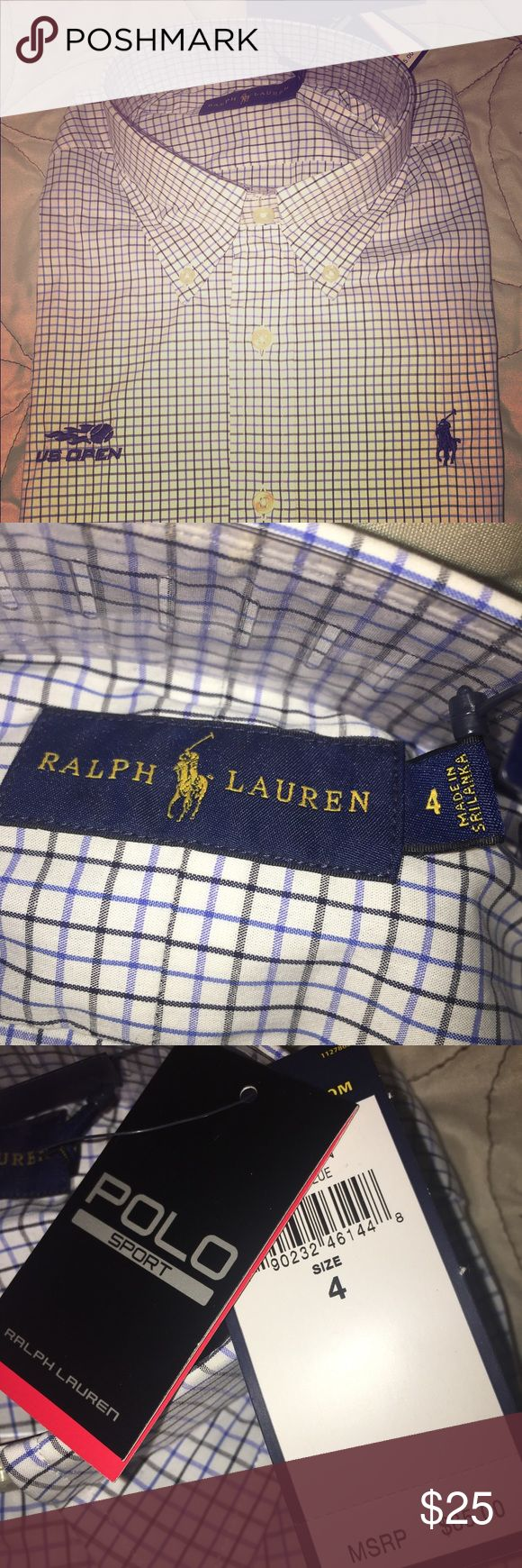 RALPH LAUREN POLO SHIRT BRAND NEW NEVER WORN❗️2016 US OPEN RALPH LAURN POLO SHIRT❗️WOMENS SIZE 4❗️THIS IS A SHORT SLEVE SHIRT ❗️ ONLY ONE POLO SHIRT 👚 LEFT‼️ Polo by Ralph Lauren Tops Button Down Shirts
