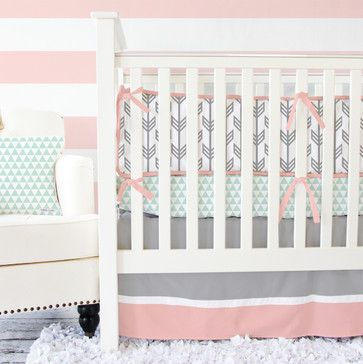 Coral and Mint Arrow Crib Bedding - Transitional - Baby Bedding - Caden Lane