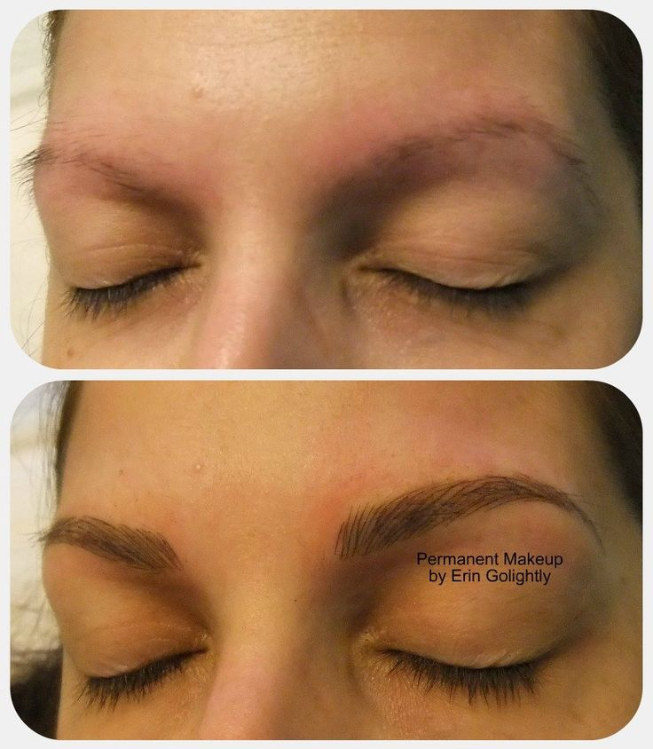 Before and after 3D hairstroke eyebrows using the Microstroking technique