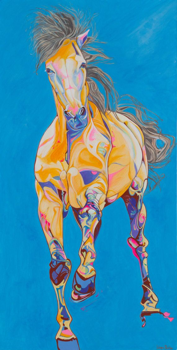 Golden Horse by EquestrianPaintings on Etsy