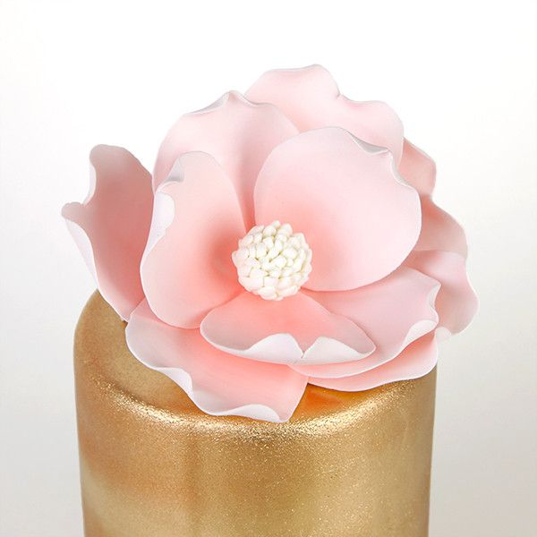 Pink Magnolia Sugarflower Cake topper perfect for cake decorating fondant cakes. Gumpaste flower. | CaljavaOnline.com #caljava #magnolia #sugarflower