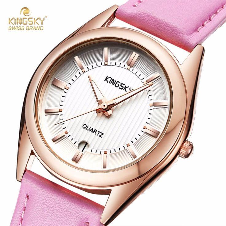 cool KINGSKY Women Watch with Calendar Fashion Dress Watches Pink PU Leather Strap Rhinestone Dial Ladies Quartz Wristwatch 2017 New