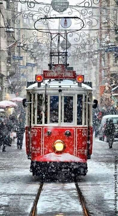 Remembering Prague and its Trams covered with snow.