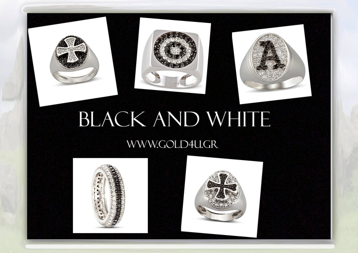 Classy and shining rings in black and white! http://www.gold4u.gr/index.php?MDL=pages=N_N0000000002_N0000002000