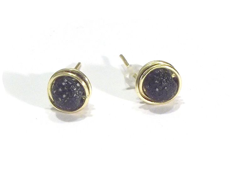 Stud Earrings – Earrings black beads wire wrapping – a unique product by betulek on DaWanda