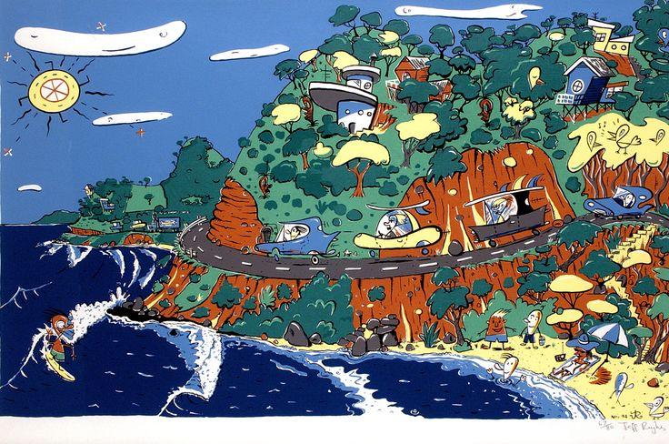 Jeff Raglus - Great Ocean Road. Australian art. Pop art. Surf art. Summer.
