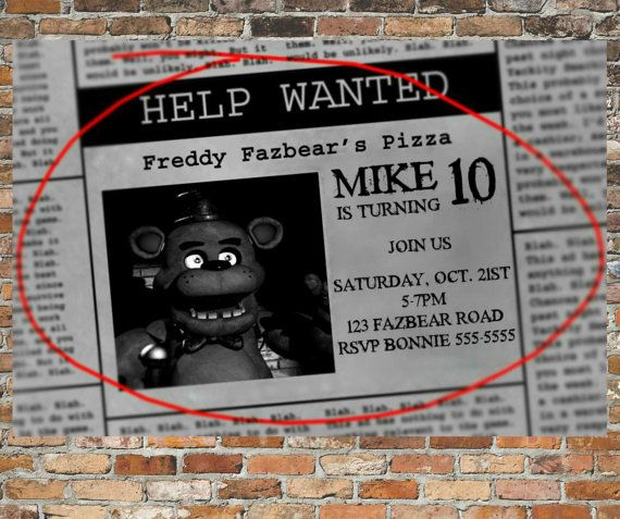 personalized five nights at freddy u0026 39 s invitations and thank you cards printable