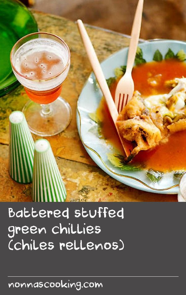 Battered stuffed green chillies (chiles rellenos) | Poblano chillies are traditionally used for this Mexican dish but you can use banana chillies instead, which are easier to find in Australia. You can make the stuffing ahead of time – it will keep in an airtight container for up to three days in the fridge.