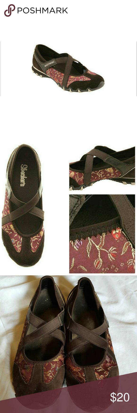 🆕LISTING💥Skechers Slip On Walking Shoe Brown leather slip on shoe with crossing straps across the top. It also has an Asian inspired design with Koi fish on a maroon background. They have only been worn a few times. They just aren't my style. The style is called the Water Lily # 21437. Skechers Shoes Sneakers