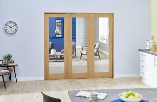 PREFINISHED Oak French Folding Room Divider - Clear: French Doors with folding sidelights