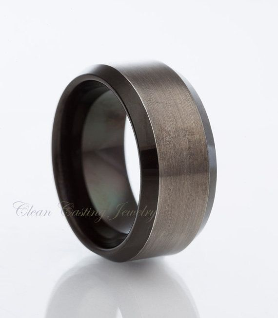 Tungsten Wedding Band,Gun Metal,Tungsten Carbide,Two Tone,Beveled Edges,Engagement Ring,Anniversary,His,Hers,8mm