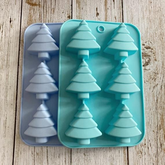 6-cavity Christmas Tree Cake Mold Flexible Silicone Choclate Mold Soap Mold Soap Candle Candy