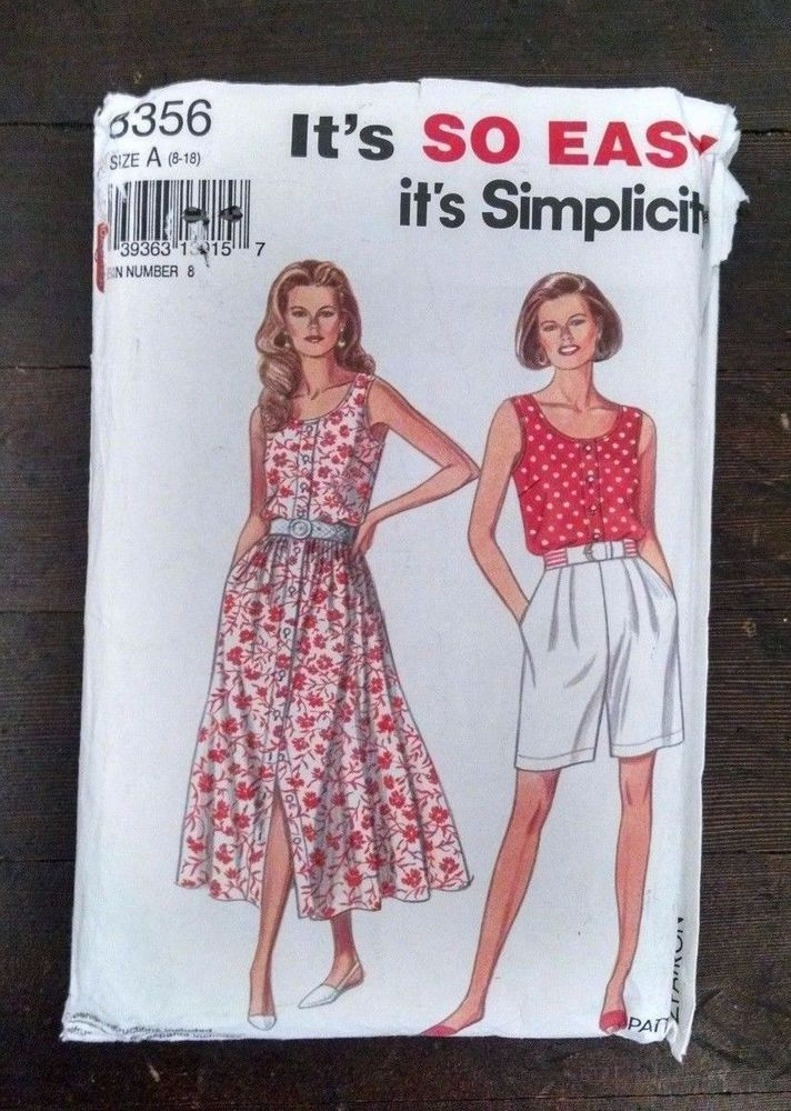 06f7dcae7c4d Simplicity Pattern 8356 Summer Dress Top Shorts Size A 8-18 Uncut   Simplicity