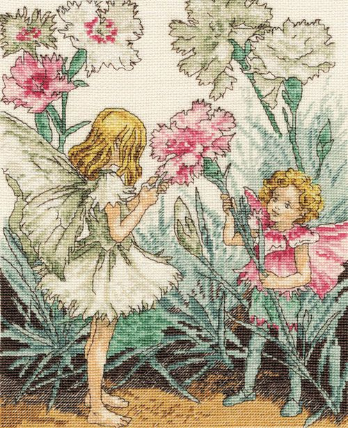 Cross stitch - fairies: Pink fairy - Cicely Mary Barker (free pattern with chart)
