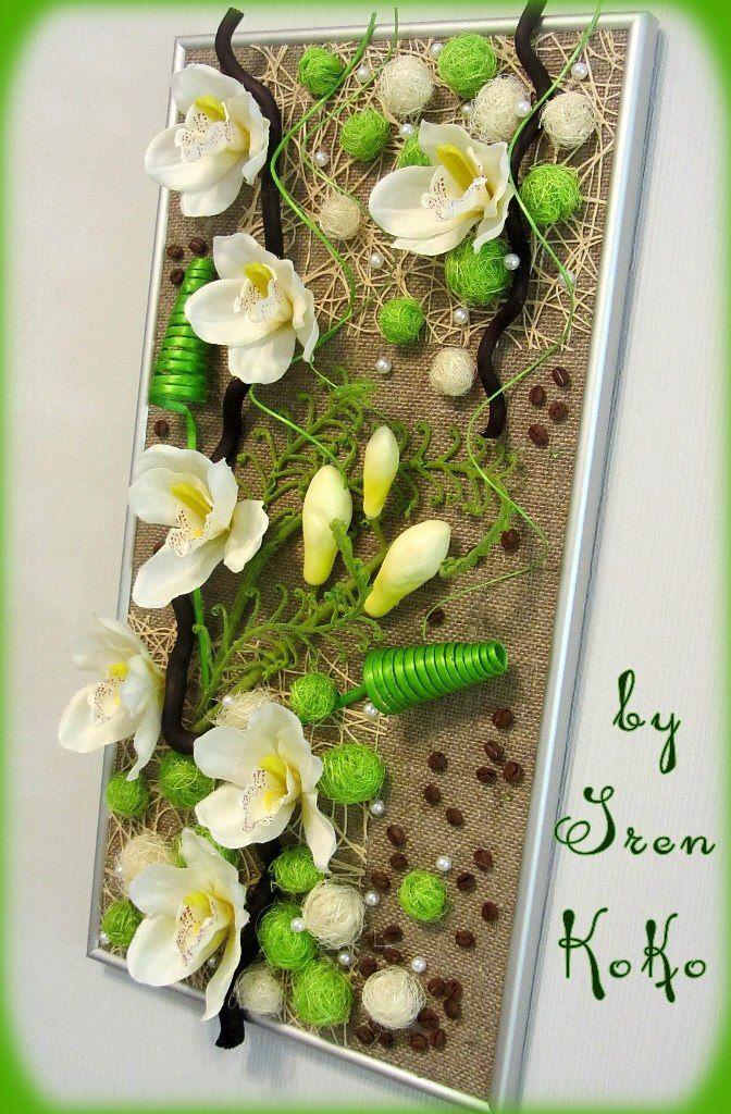 Панно размер 55 на 28 см. Металлическая рамка, искусственные цветы и веточки, корилус, ротанг, мешковина, сизаль, кофе, бусины.