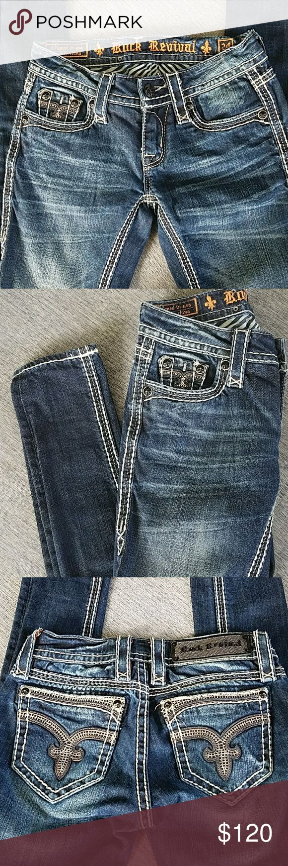 Rock Revival women's jeans Skinny jean fit. Perfect condition. Never been worn. Size 24 Rock Revival Jeans Skinny