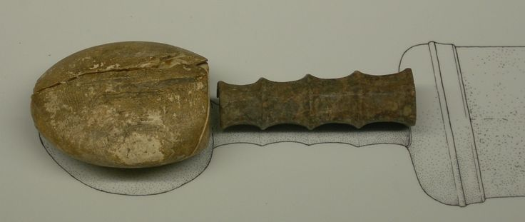 Pommel and grip of a Roman gladius sword. Made of wood and bone. Museo Archeologico Nazionale di Aquileia.