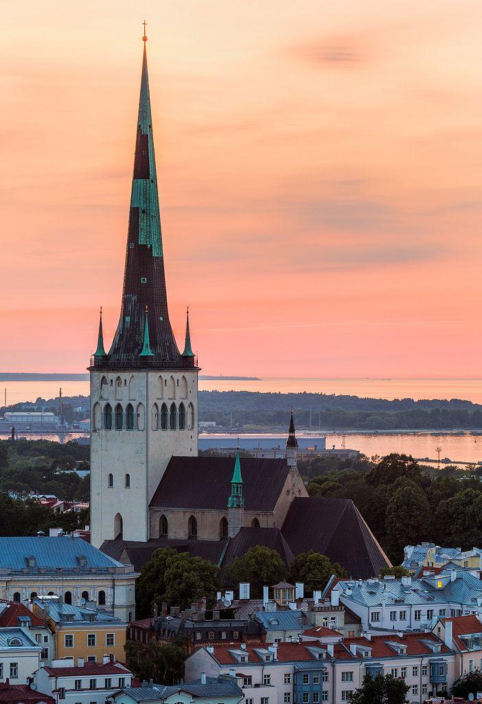 Midnight Sun over St Olaf's Church in Tallinn, Estonia.