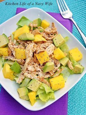 Mango Avocado Spiced Chicken Salad 1 small head of lettuce, chopped 1-2 cups shredded chicken 1 ...