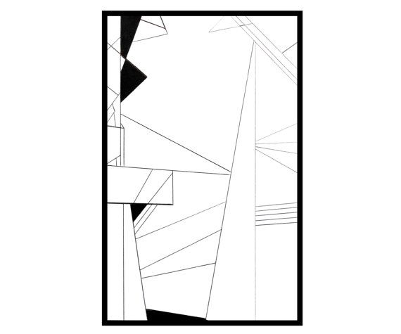 Original Geometric Drawing Abstract Pen and Ink by 7RayedDesigns