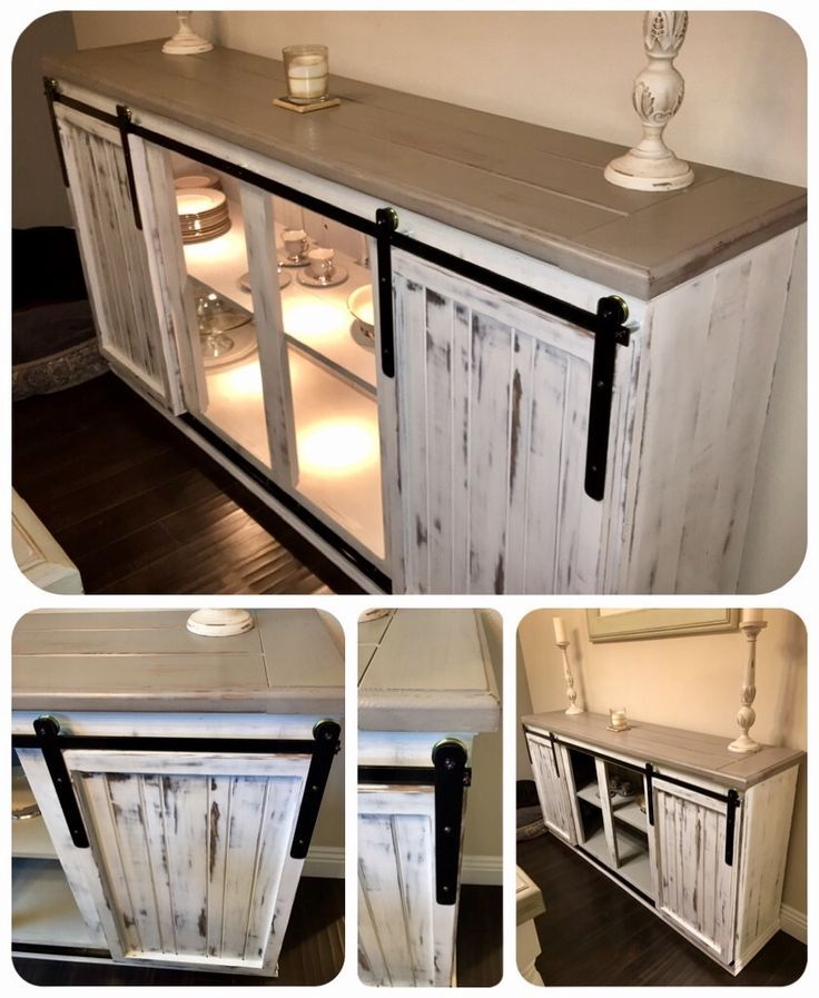 DIY - Sideboard / Buffet Table. Farmhouse Barn style hanging doors, painted Annie Sloan Pure White and distressed. Top was made from 2x6's the were squared and routed and painted French Linen from Annie Sloan. Hangers were made from 1/8 flat bar and sliding doors wheels from Lowe's. I used square bar from Lowe's as a rail at the bottom and painted it black. I used screen door small plastic wheels on the bottom of the doors that fit into the track to hold the door in place.