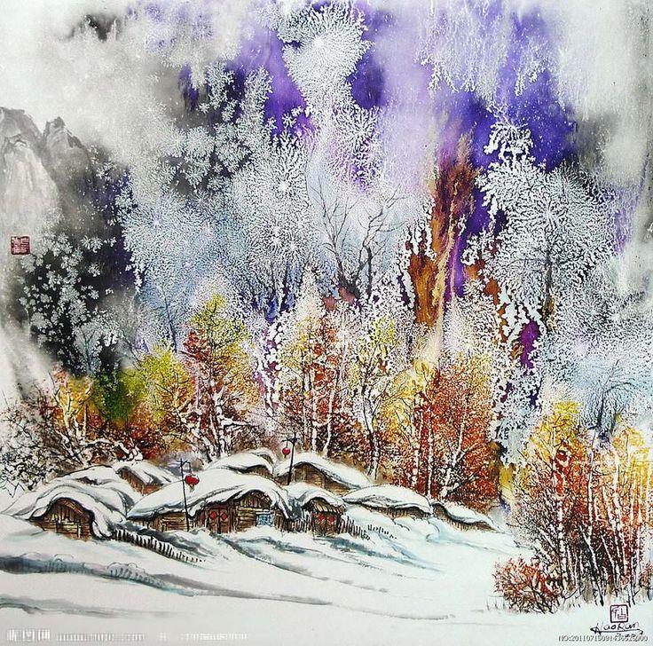 Зимние акварельные картинки, открытки день рождения