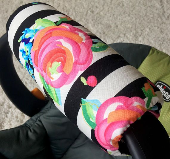 Watercolor Floral Stripe Arm Pad for Infant Car Seat Handle