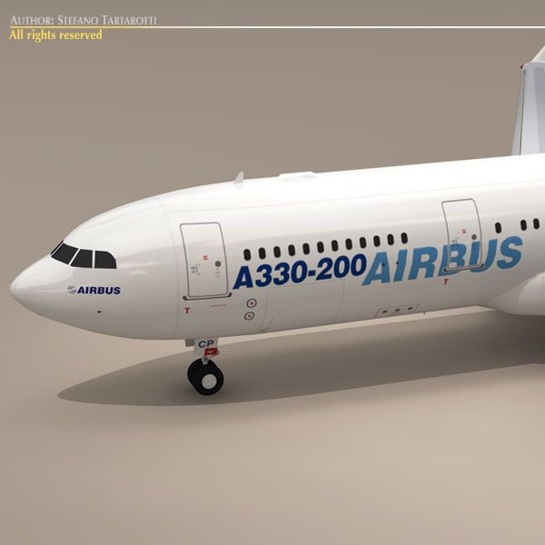 Airbus A330-200 3D Model- Only cinema4d R10 has materials and textures.  Other formats zip files have textures enclosed.  Polygons 18278  Vertices 20166  This model is only artistic representation of the subject matter. I made it for a flight magazine illustration.  The Airbus A330 is a large-capacity, wide-body, twin-engine, medium- to long-range commercial passenger jet airliner. Depending on the variant, it has a range of 7,400 to 13,430 kilometres 4,000 to 7,250 nmi, can accommodate up…