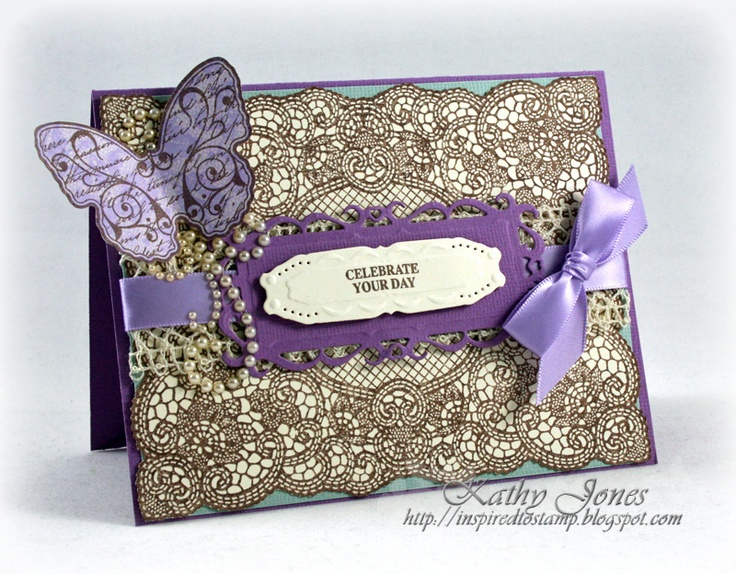 Inspired to Stamp: Purple Butterfly using Lace Background Stamp and Grand Sentiments