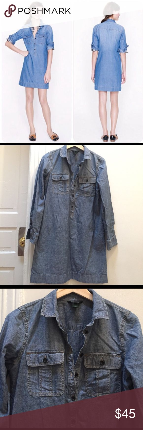 J Crew Chambray Shirtdress Lovely J Crew mid-weight denim pop-over style shirtdress. Has tab sleeves and double chest pockets. J. Crew Dresses