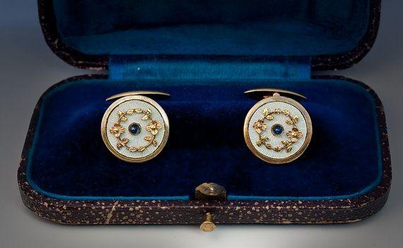 Émail guilloché, boutons de manchette or et saphir bicolore