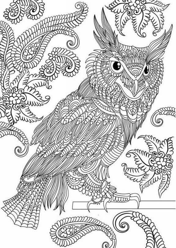 stress relieving coloring pages owls - photo#4