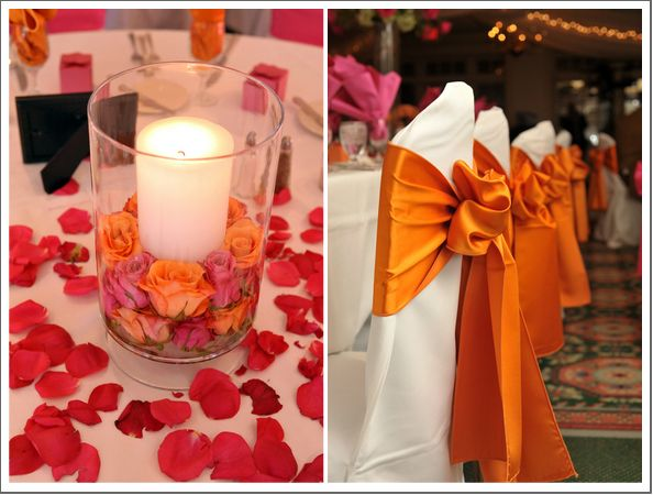 45 best pink orange wedding images on pinterest casamento pink pink orange wedding centerpieces but need to add some pink to those bright orange chair bows junglespirit Image collections