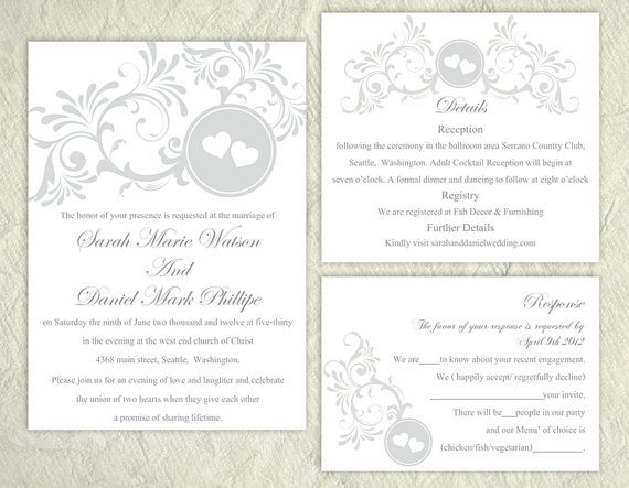 Printable Wedding Invitation Suite Gray Silver Wedding Invitation Heart Invitation Download by TheDesignsEnchanted on Etsy