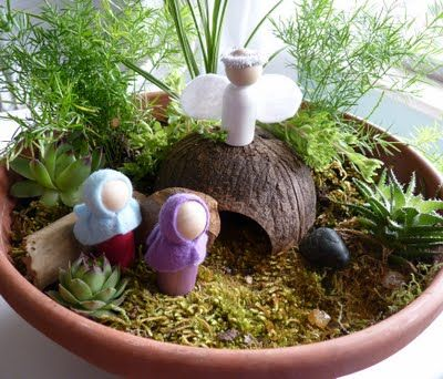 Plant an Easter Garden! Using potting soil, a tiny buried flower pot for the tomb, shade grass seed, & crosses made from twigs. Sprinkle grass seed generously on top of dirt, keep moistened using a spray water bottle. Spritz it several times a day. Set it in a warm sunny location. Sprouts in 7-10 days so plan ahead.