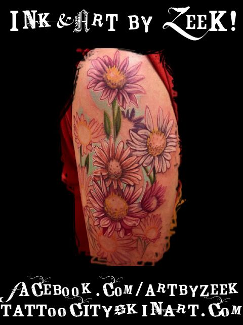 Daisies soft color daisies flower sleeve tattoo by zeek for Daisy of love tattoo sleeve