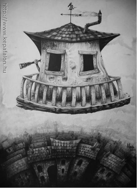 Mazán Mihály - A varázsló Háza című festménye