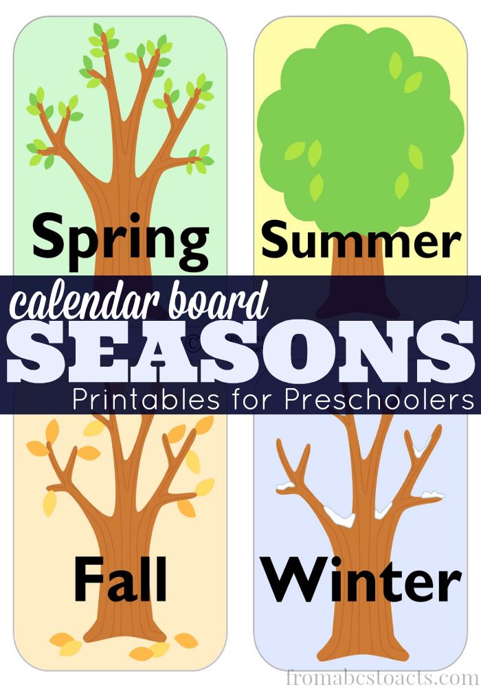 Teaching your preschooler about the changing seasons is easy with this set of calendar board season cards!