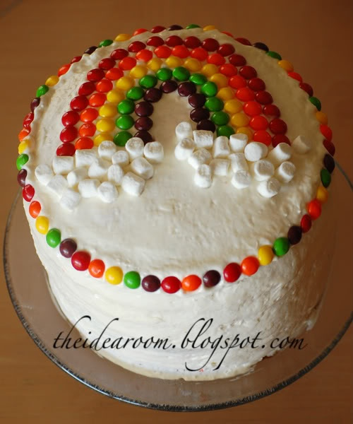 Rainbow cake--so simple to decorate, and different cake layers inside are different colors.