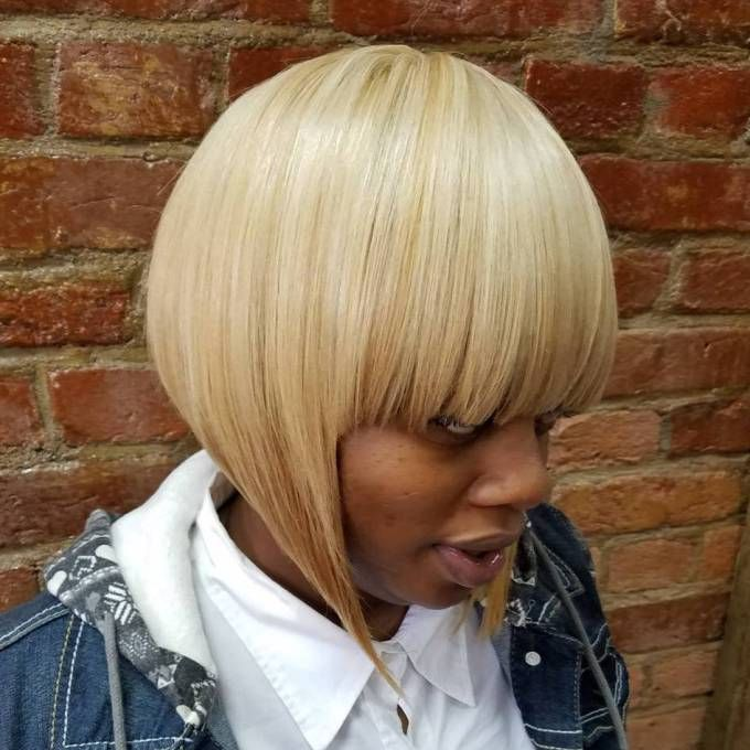 African American Blonde Bob With Blunt Bangs