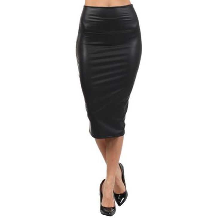 Elegant Women Sexy Black Faux leather Pencil Skirt High Waist Below Knee