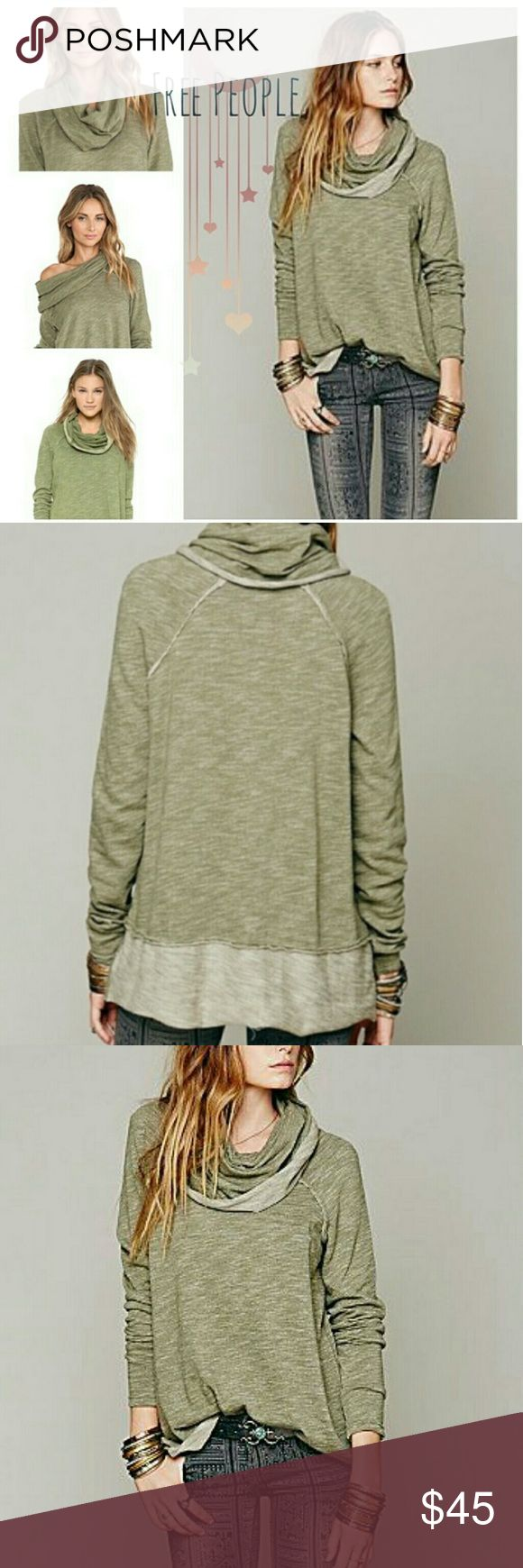 "Free people ""beach"" cocoon pullover cowl neck Free people ""beach"" cocoon oversized pullover cowl neck top in a sage/Olive green. Super cute, super comfy and works in all four seasons of weather. Perfect over your swimsuit for a beach campfire or with leggings and winter boots for a snowy day.  So soft. Super perfect. Good condition. Free People Tops Sweatshirts & Hoodies"